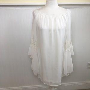 Honeyme White Boho Crochet Detail Dress - Small